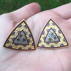 Vintage signed damascene earrings